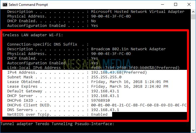 Langkah 10 - Scroll down hingga dapat info wireless LAN adapter Wi-Fi