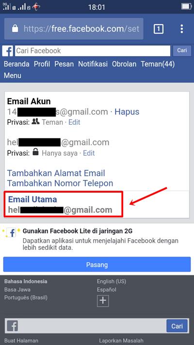 Langkah 10 - pilih email utama