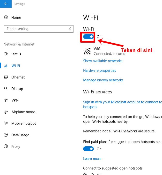 Langkah 13 - off wifi lalu on wifi kembali