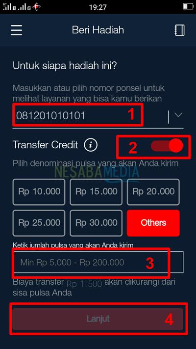 Langkah 4 lewat app - tutorial cara transfer pulsa Telkomsel / simPATI