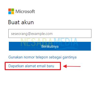 Langkah 4 - pilih dapatkan email baru