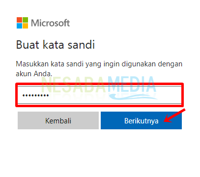 Langkah 5 - isi password lalu lanjutkan