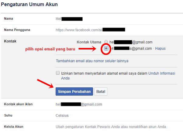 cara mengganti email facebook lewat HP Android