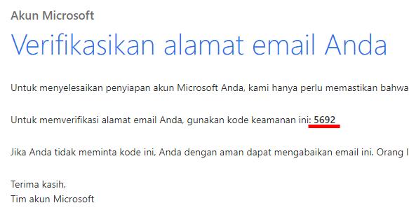 langkah 8 - buka email lihat kode