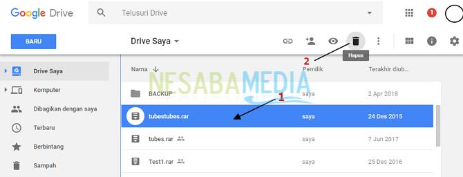 cara menghapus file di google drive