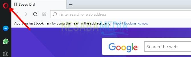 klik ikon Opera