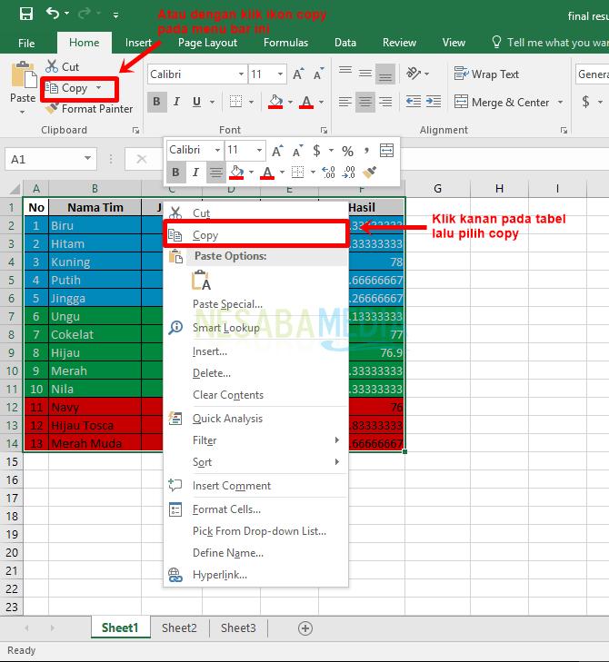 Langkah 2 - copy tabel