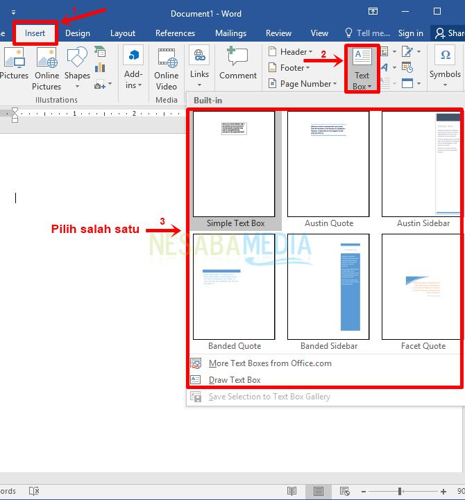 Langkah 3 - pilih insert lalu text box