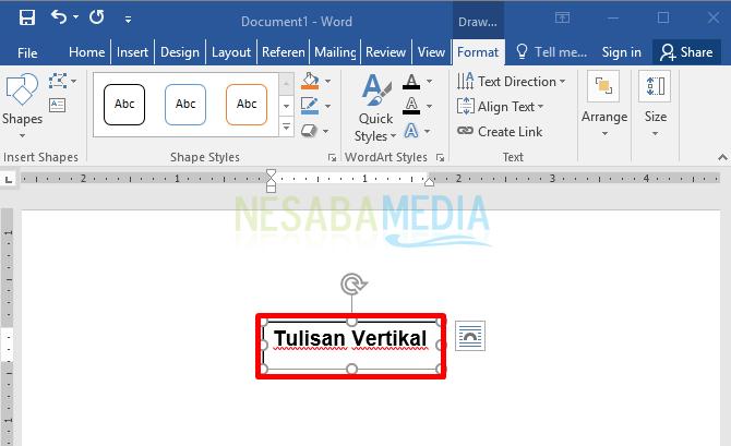 cara membuat teks atau tulisan menjadi vertikal untuk pemula