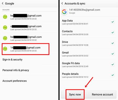 Langkah 4 - pilih email dan sinkron