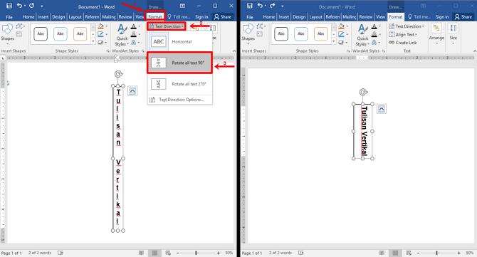 Langkah 6 - Pilih Format lalu Text decoration lalu Rotate all text 90 derajat dan berhasil
