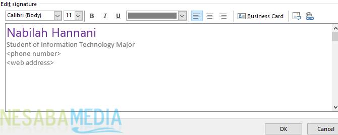 Cara Membuat Signature di Outlook 4