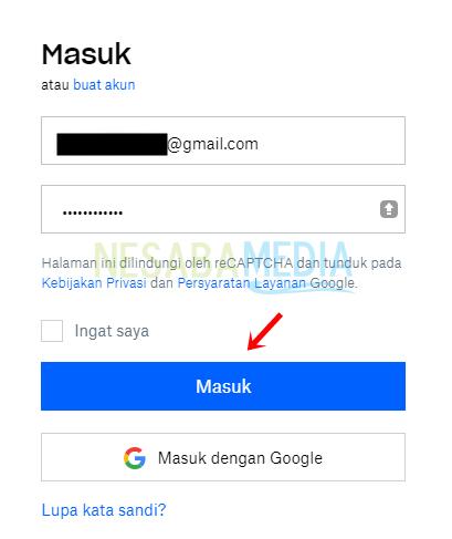 Langkah 3 - masukan email dan password
