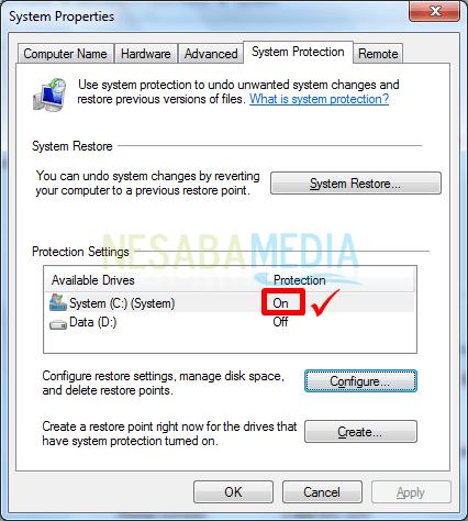 Cara Mengaktifkan System Restore di Windows 7
