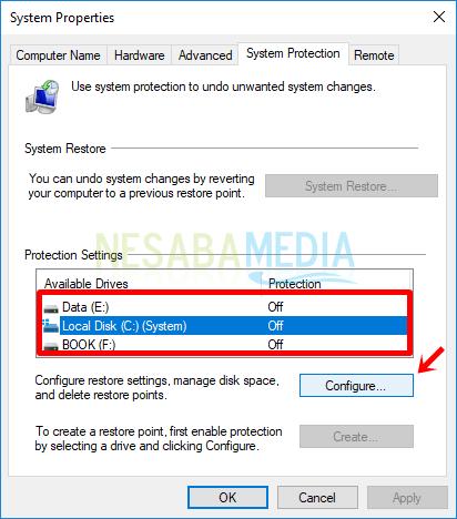 cara mengaktifkan system restore di windows 8