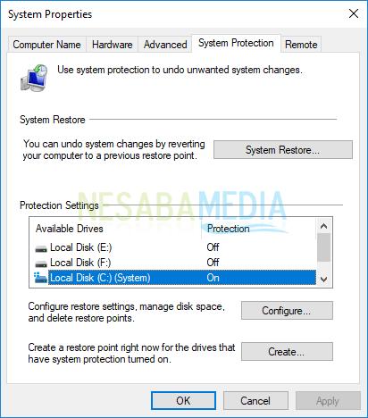 cara mematikan system restore di windows 7, 8 dan 10