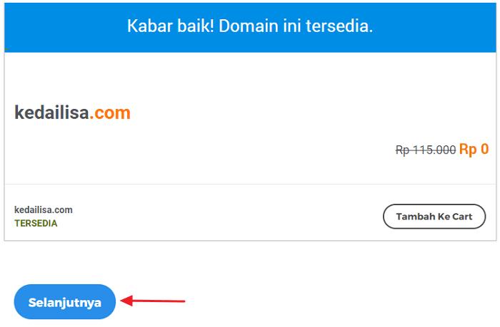 domain tersedia dan lanjutkan