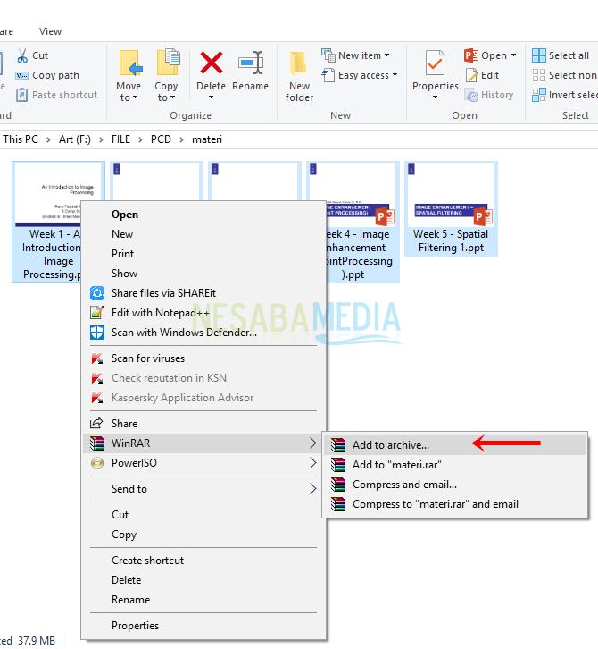 Langkah 1 - klik kanan file, winrar, add to archieve