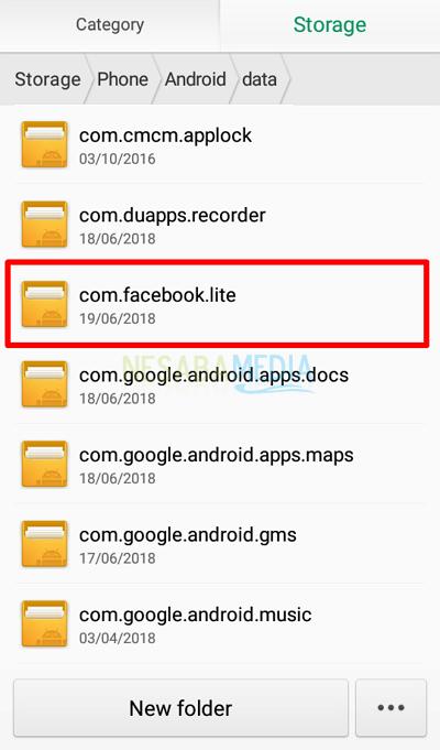 Langkah 6 - cari folder com(dot)facebook(dot)lite