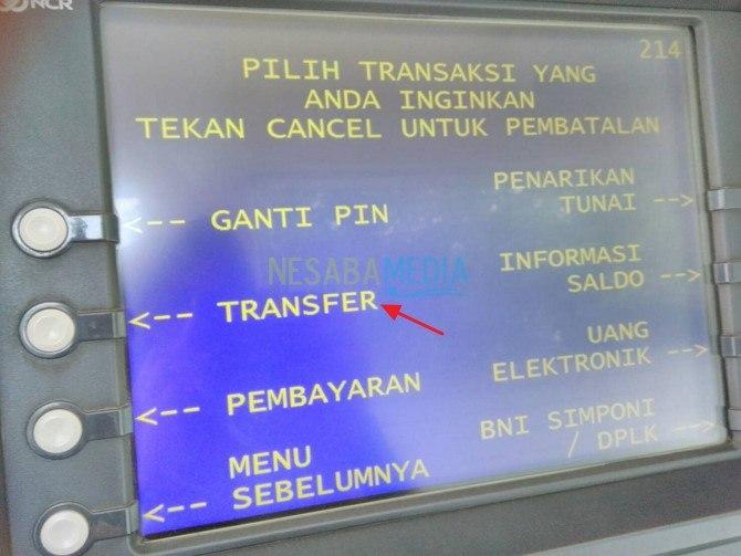 Transfer Melalui ATM BNI