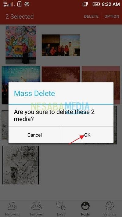 cara menghapus foto di instagram