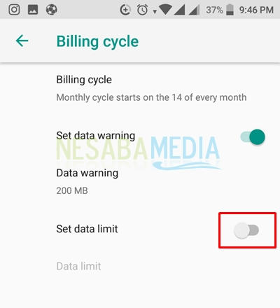 how to set data usage limit on nokia 8
