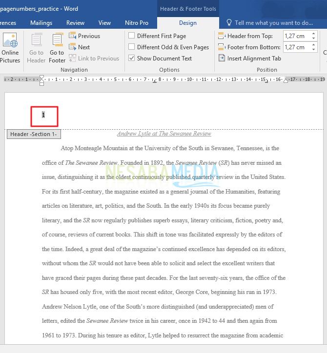 cara membuat halaman berbeda di word 2007