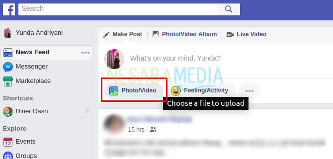 cara upload video di facebook lite