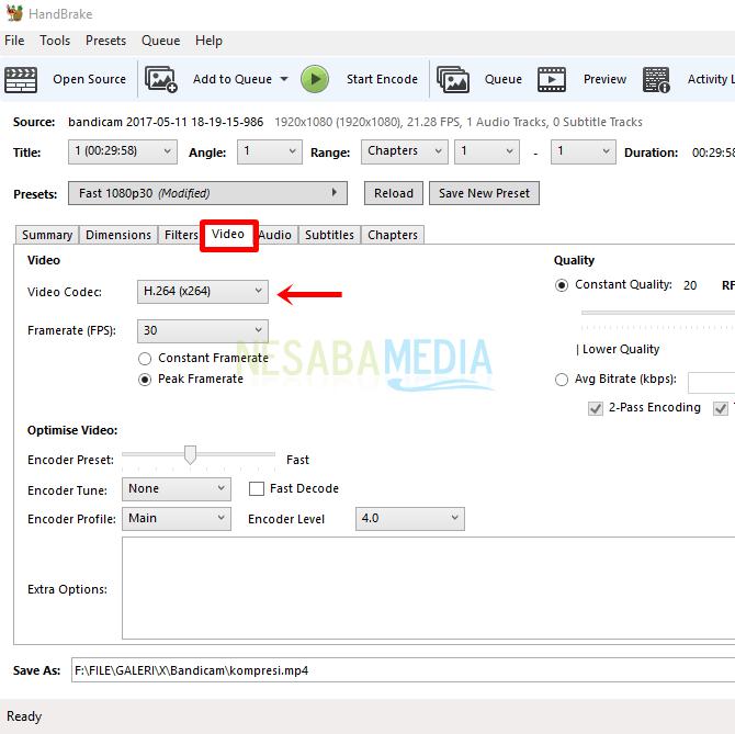 6 - pilih tab video codec