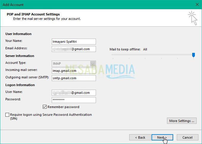 klikNextpada kotak dialog POP and IMAP Account Settings