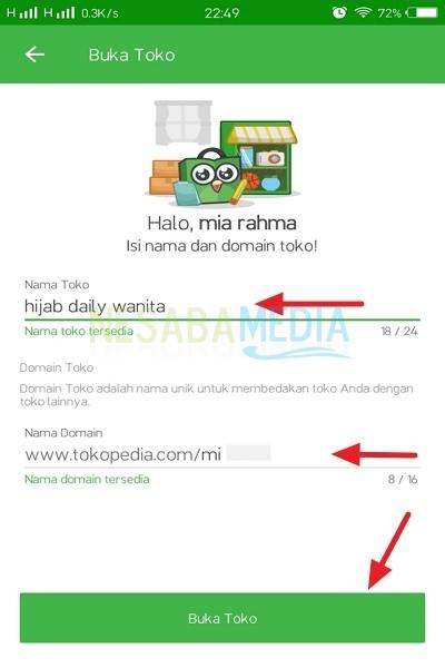 isi data Nama Toko dan Domain Toko