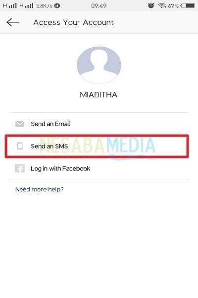 Pilih Send an SMS