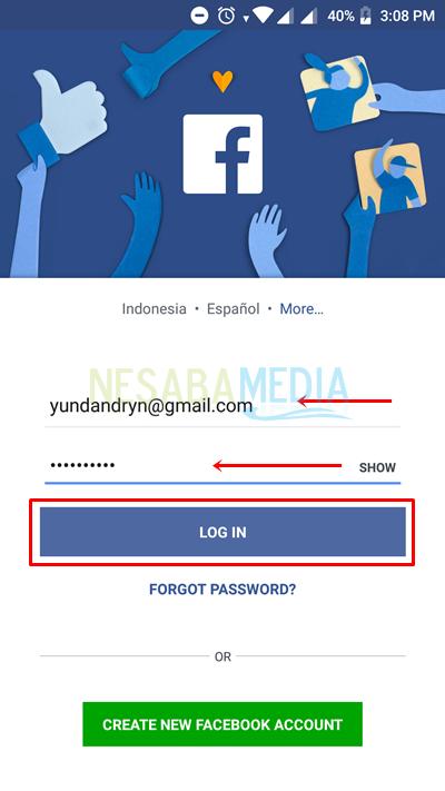 login in fb app