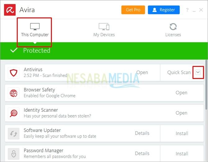 cara mematikan antivirus Avira untuk sementara