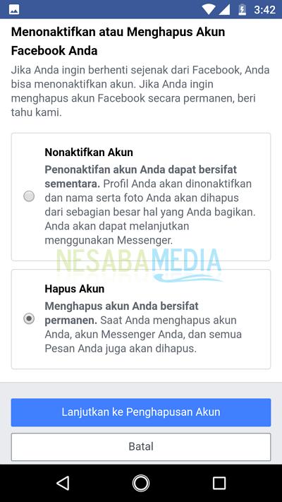 menghapus akun facebook 5
