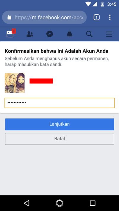 menghapus akun facebook 7