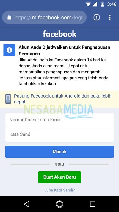 menghapus akun facebook 9