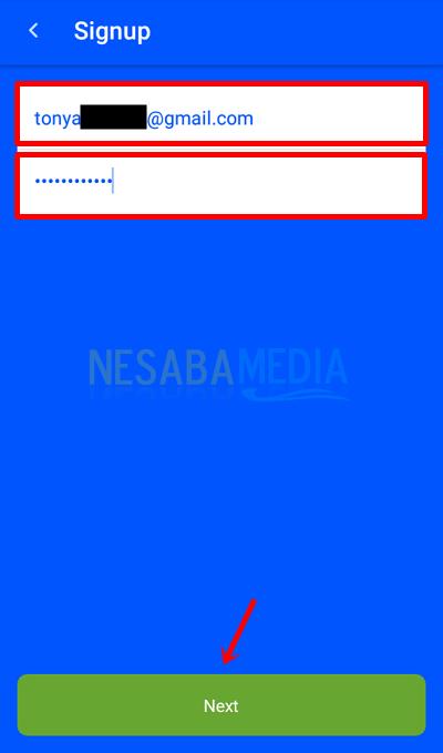 5 - isi email dan password