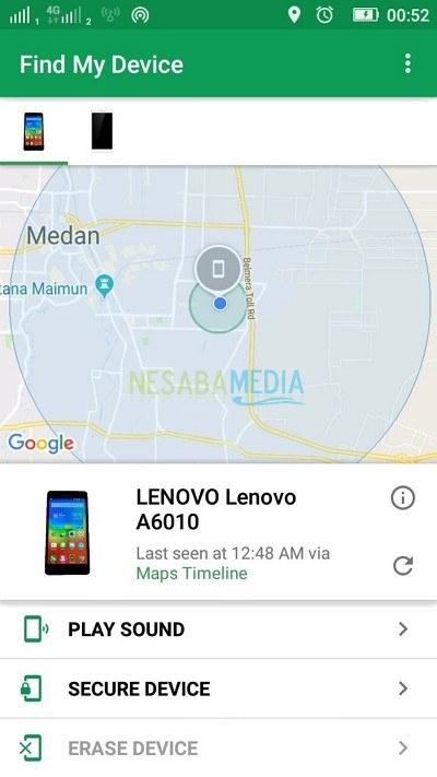 Find My Device via aplikasi