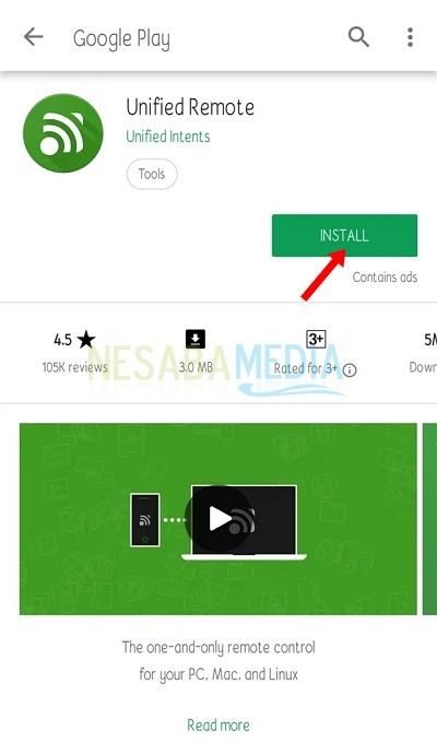 install aplikasi Unified Remote