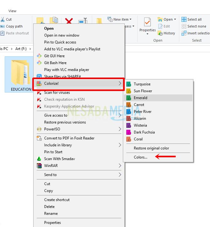 Langkah 2 - kanan pada folder yang ingin diubah warnanya lalu pilih Colorize! lalu silakan pilih warna