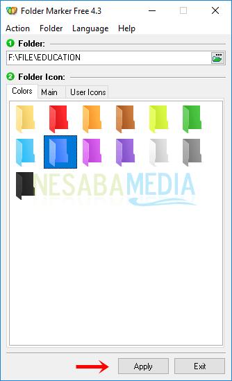 Langkah 4 - pilih tab Colors lalu silakan pilih warna yang tersedia kemudian klik Apply