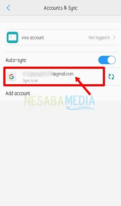 Tap alamat Gmail yang terdapat di sinkronisasi akun