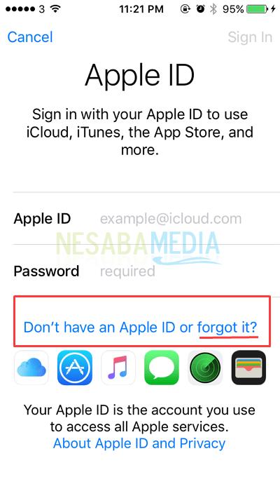 fitur untuk lupa password
