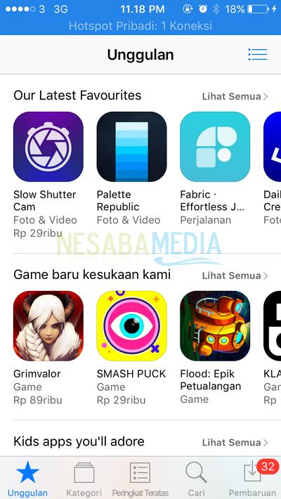 tampilan dari app store