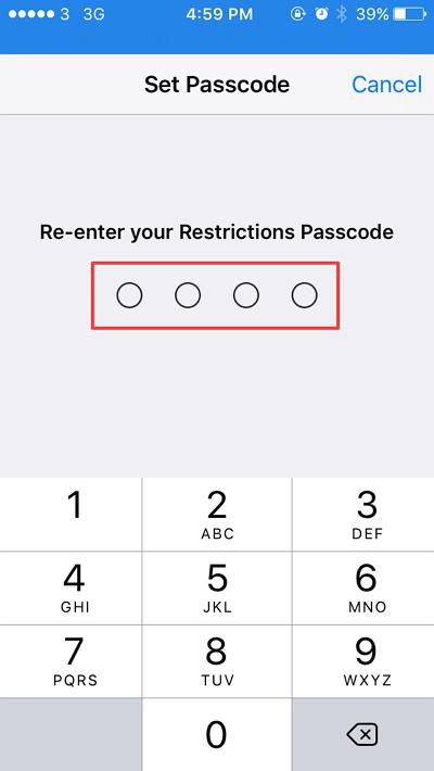 menuliskan kembali passcode yang telah di buat sebelumnya