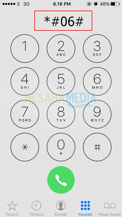 melalui dial telepon