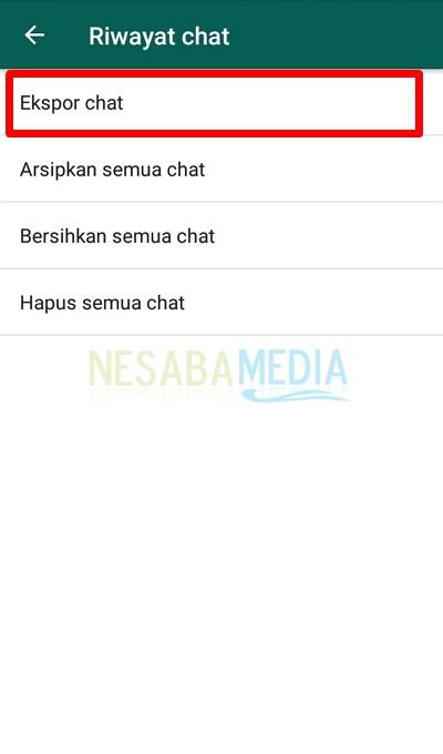Pilih Ekspor Chat