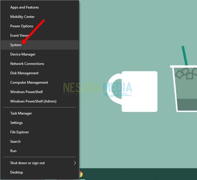 Klik kanan Start, System - Cara Mengetahui Versi Windows 64 Bit atau 32 Bit