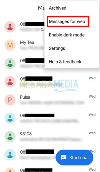 Langkah 5 - pilih Messages for Web